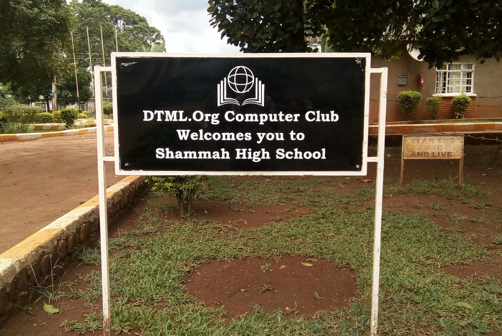 Picture of DTML.org Computer club sign in Shammah High School