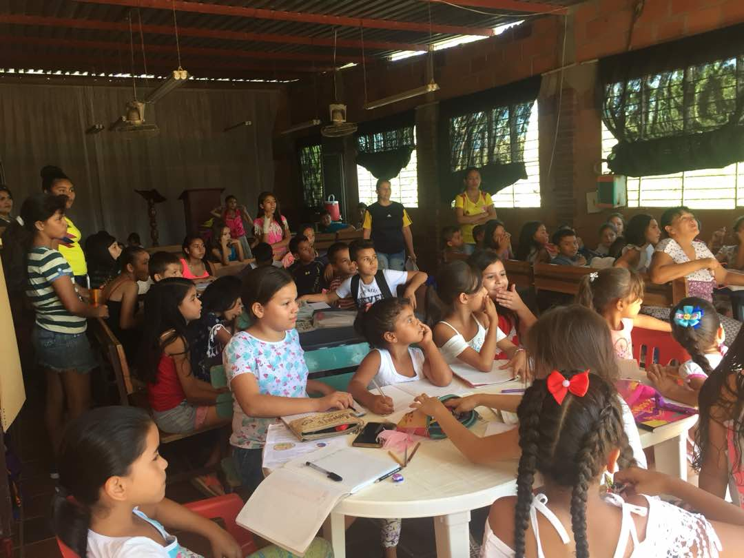 Classroom of kids learning through JAAS Foundation