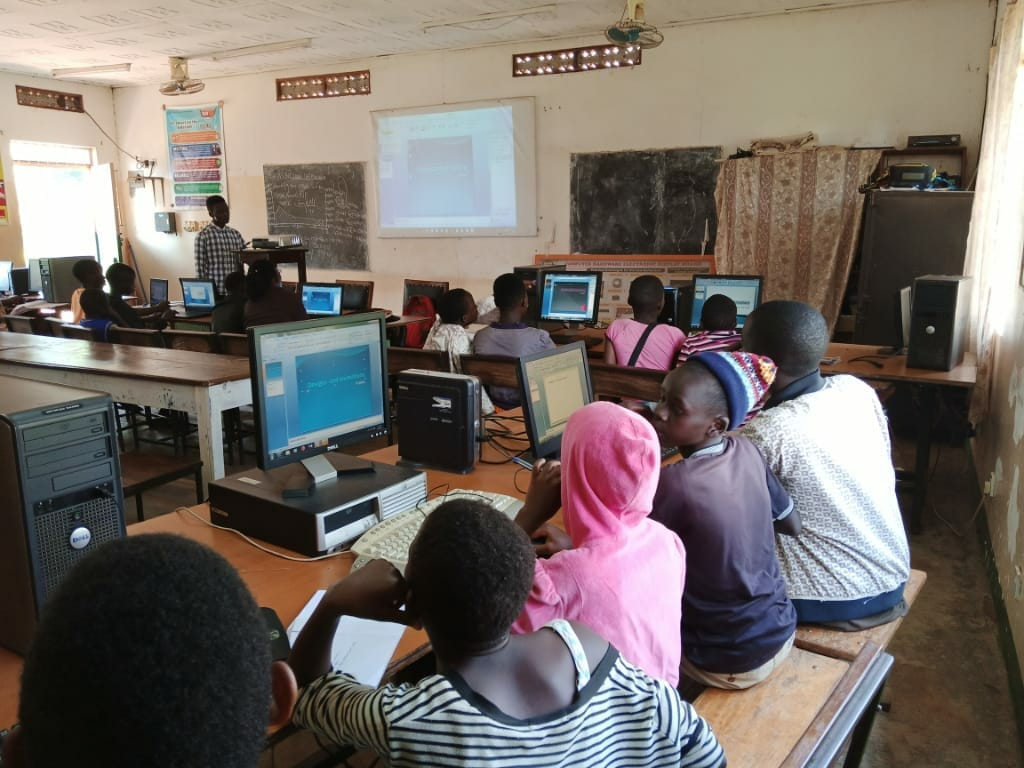 Group class at computer outreach through the JAAS Foundation
