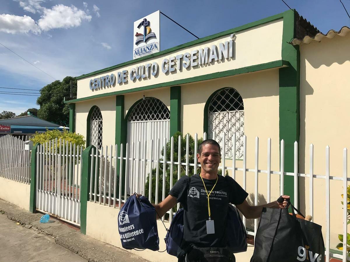 DTML Representative Nestor Jerez with donations